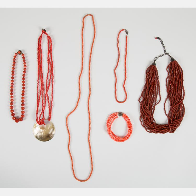 A Group of Five Coral Beaded Necklaces,