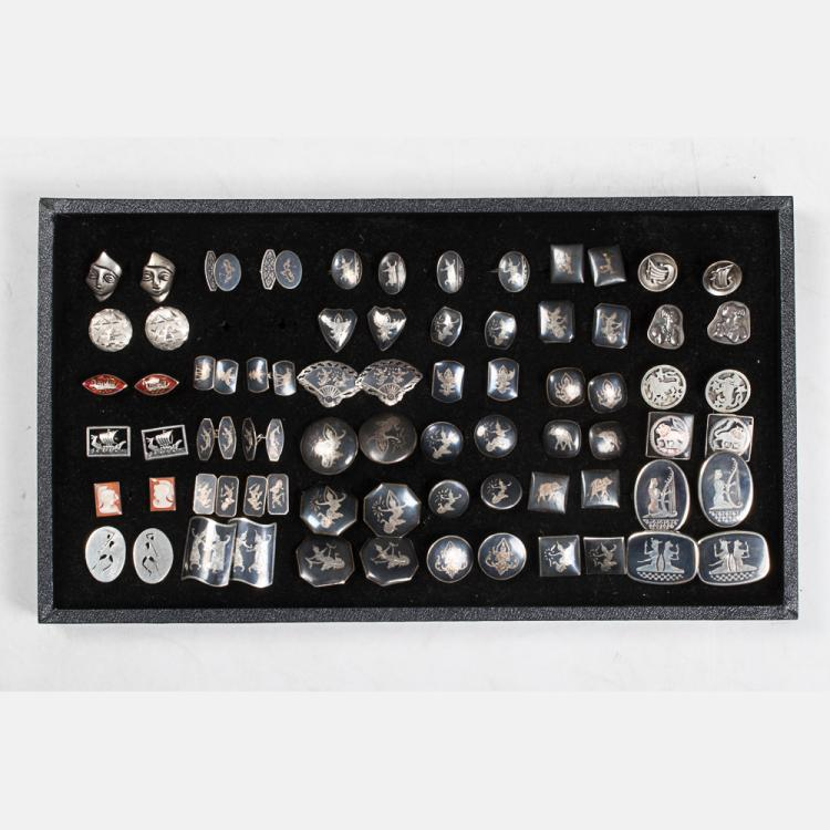 A Miscellaneous Collection of Thirty-Five Pairs of Sterling Silver, Silver and Silver Plated Cufflinks by Various Makers, 20th Century,