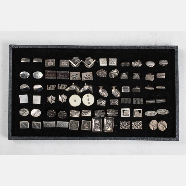 A Miscellaneous Collection of Thirty-Six Pairs of Sterling Silver, Silver and Silver Plated Cufflinks by Various Makers, 20th Century.