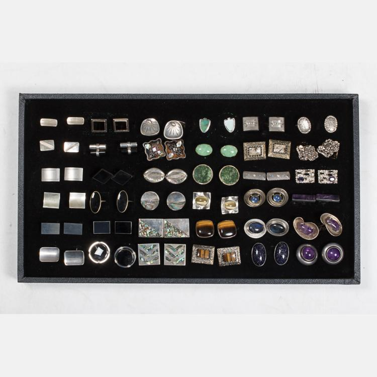 A Miscellaneous Collection of Thirty-Six Pairs of Sterling Silver, Silver and Silver Plated Cufflinks by Various Makers, 20th Century,