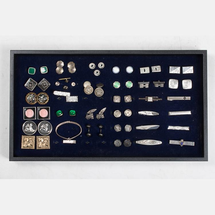 A Miscellaneous Collection of Sterling Silver, Silver, and Silver Plated Cufflinks, Shirt Studs and Tie Clips by Various Makers, 20th Century,