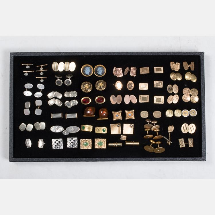 A Miscellaneous Collection of Forty Pairs of Low Karat White, Yellow and Rose Gold Cufflinks by Various Makers, 20th Century,