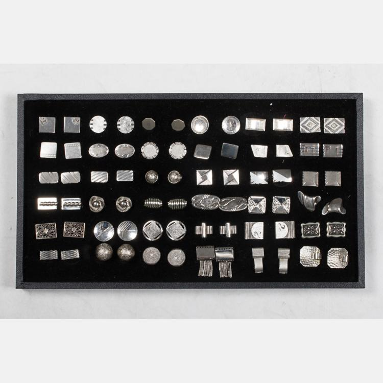 A Miscellaneous Collection of Thirty-Six Pairs of Silver Plated Cufflinks by Various Makers, 20th Century.