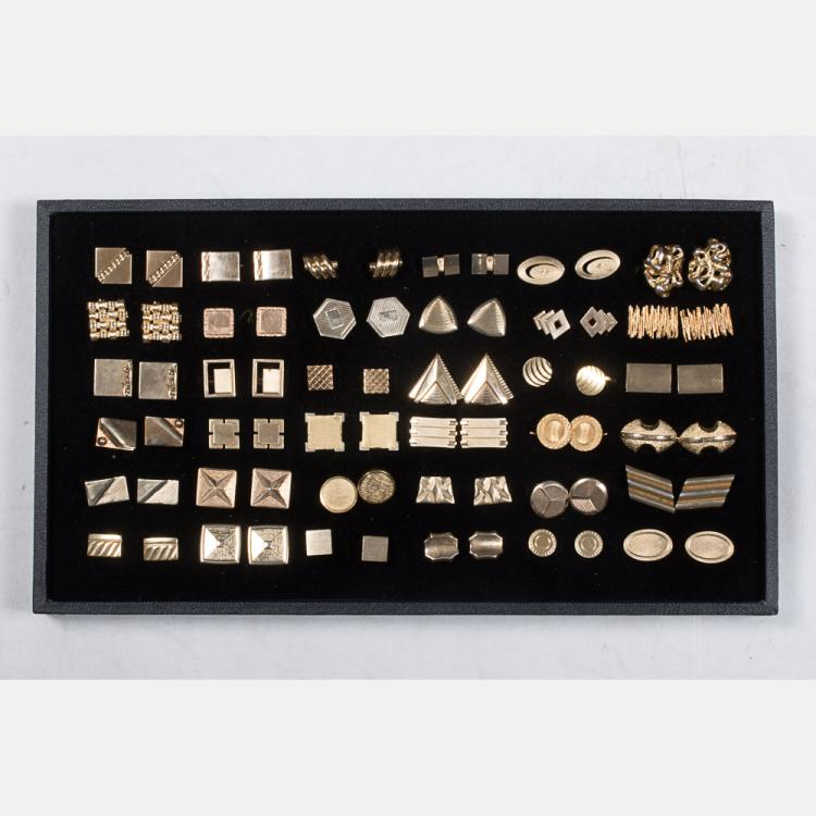 A Miscellaneous Collection of Thirty-Six Pairs of Gold Plated Cufflinks by Various Makers, 20th Century.
