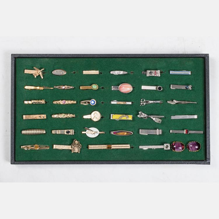 A Miscellaneous Collection of Thirty-Four Gold Plated and Silver Plated Vintage Tie Clips, 20th Century,