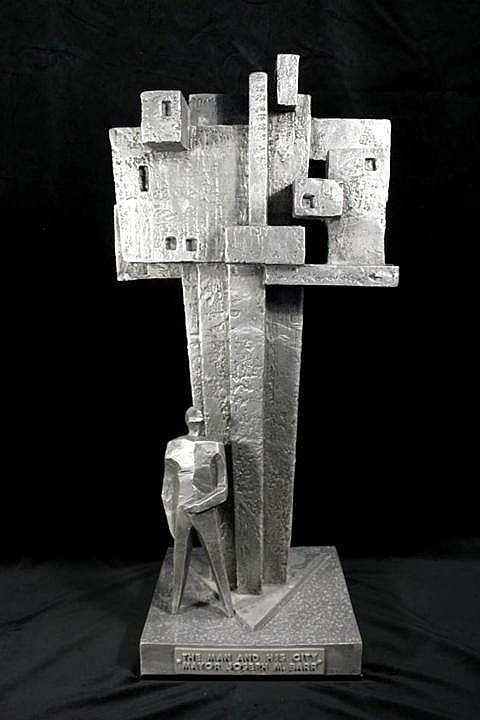 Virgil Cantini (American, 1919-2009) The Man and His City, Mayor Joseph M. Barr, 1970, Aluminum,