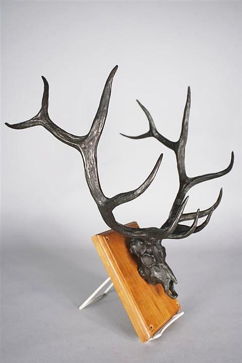Gary Schildt, (American, b. 1938) Bronze Deer Skull,