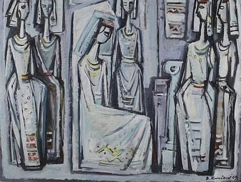 Branko Kovacevic (Yugoslavian/French, 1911-1988) Female Figures, Oil on canvas,