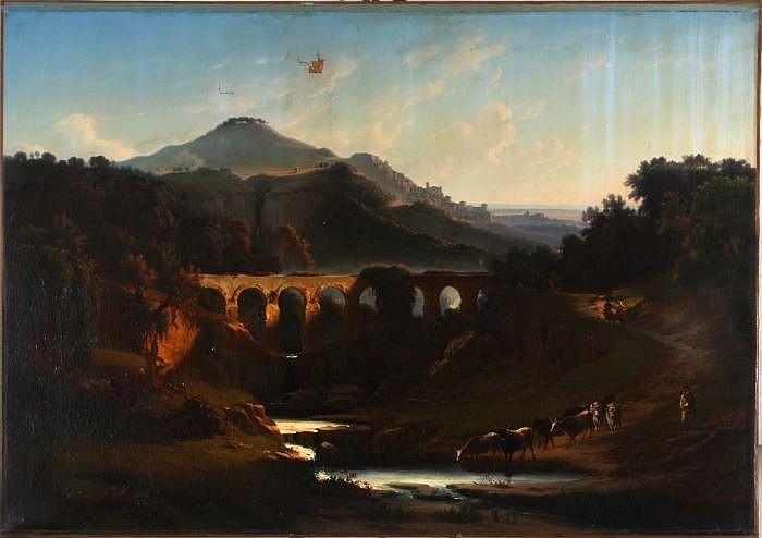Edmond Hottenroth (1801-1889) Landscape, Oil on canvas,