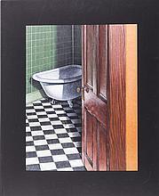 Gerald Kramer (20th Century) Night Scene, 1988, Mixed media on board,