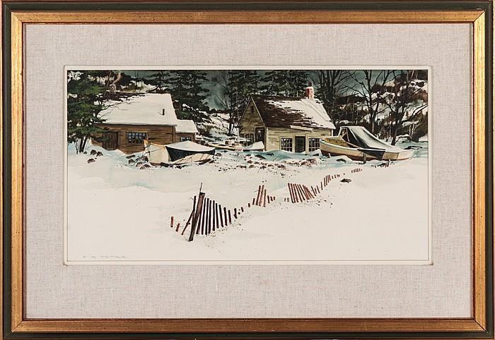 Ferdinand Petrie (1925-2007) Rockport Winter, Watercolor,