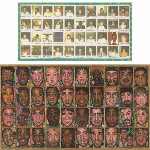 Anna Arnold (20th Century) Forty Portraits, Mixed media on wood,