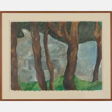 Barbara Ellmann (20th Century) LeQuire's Pond, 1985, Oilstick on paper,