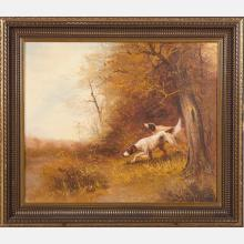 R. Jacky (20th Century) Landscape with Hunting Dogs, Oil on canvas,