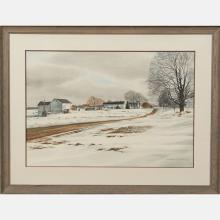 Florian K. Lawton (1921-2011) Farm in Winter, Watercolor on paper,