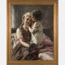 Paul Hermann Wagner (1852-1937) Two Siblings, Oil on canvas,
