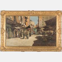 Felice Giordano (Italian, 1880-1964) In Piazza, Oil on canvas,
