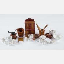 A Collection of English Porcelain Doll Serving Items, 20th Century,