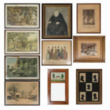 A Miscellaneous Collection of Framed Decorative Items by Various Makers, 18th/20th Century,