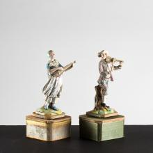A Pair of French Porcelain Automatons Depicting a Male and Female Musician, 19th/20th Century,