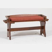 An American Pine and Metal Carriage Bench, Early 20th Century.