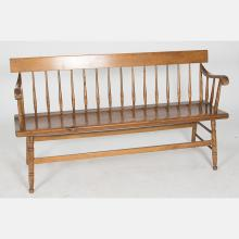An American Pin Windsor Bench, 20th Century.