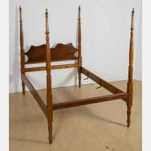 An American Cherry Four Poster Bed, 19th Century.