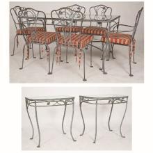 A John Salterini Wrought Metal and Glass Garden Dining Set, 20th Century,