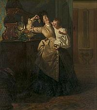 Peter W. Sebes (1827-1906) Interior Scene with Mother and Child, Oil on board,