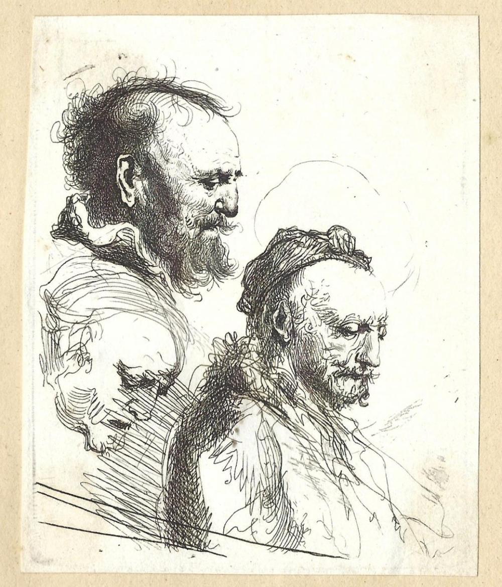 Rembrandt van Rijn - Three Studies of Old Men