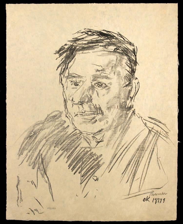 Oscar Kokoschka - Teddy Kollek. (Mayor of Jerusalem)