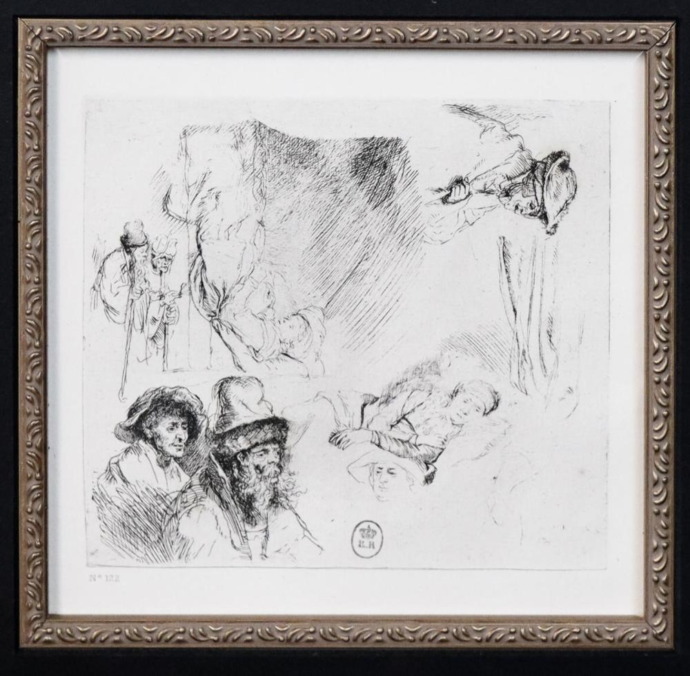 Rembrandt van Rijn (after) - Sheet of Studies with
