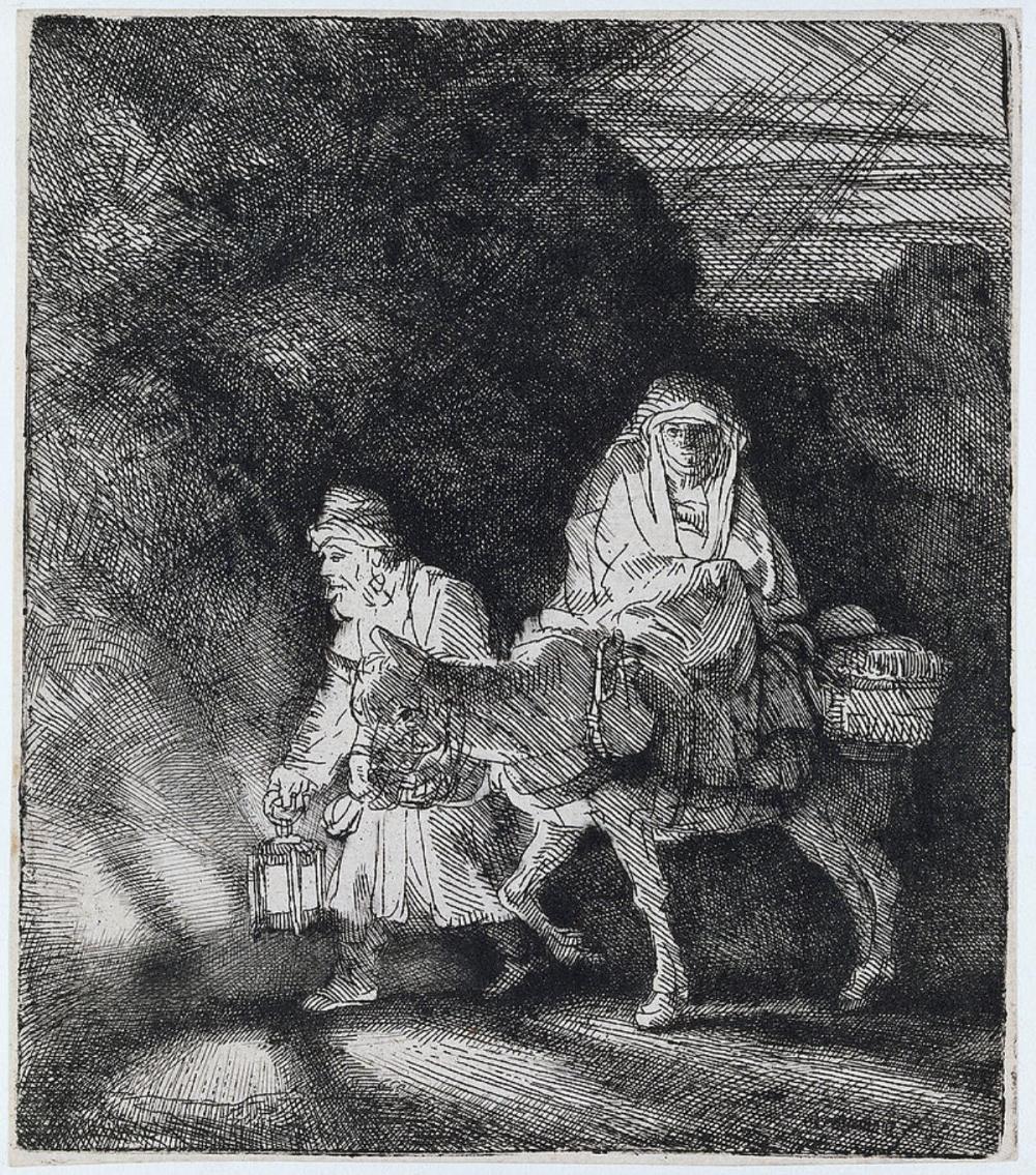 Rembrandt van Rijn (after) - The Flight into Egypt: a