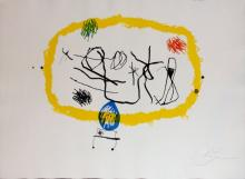 Joan Miro Personnages Solar Hand Signed Etch. Aquatint