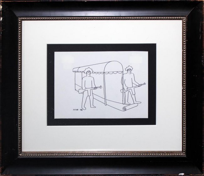 Mark Kostabi original drawing
