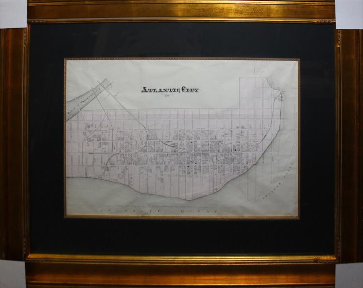 Atlantic City Original Map Engraving from 1877