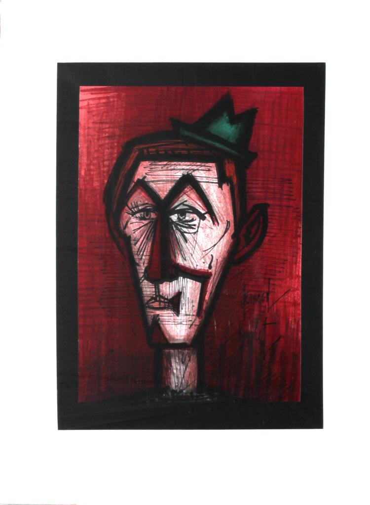 Clown on a Red Background by Bernard Buffet