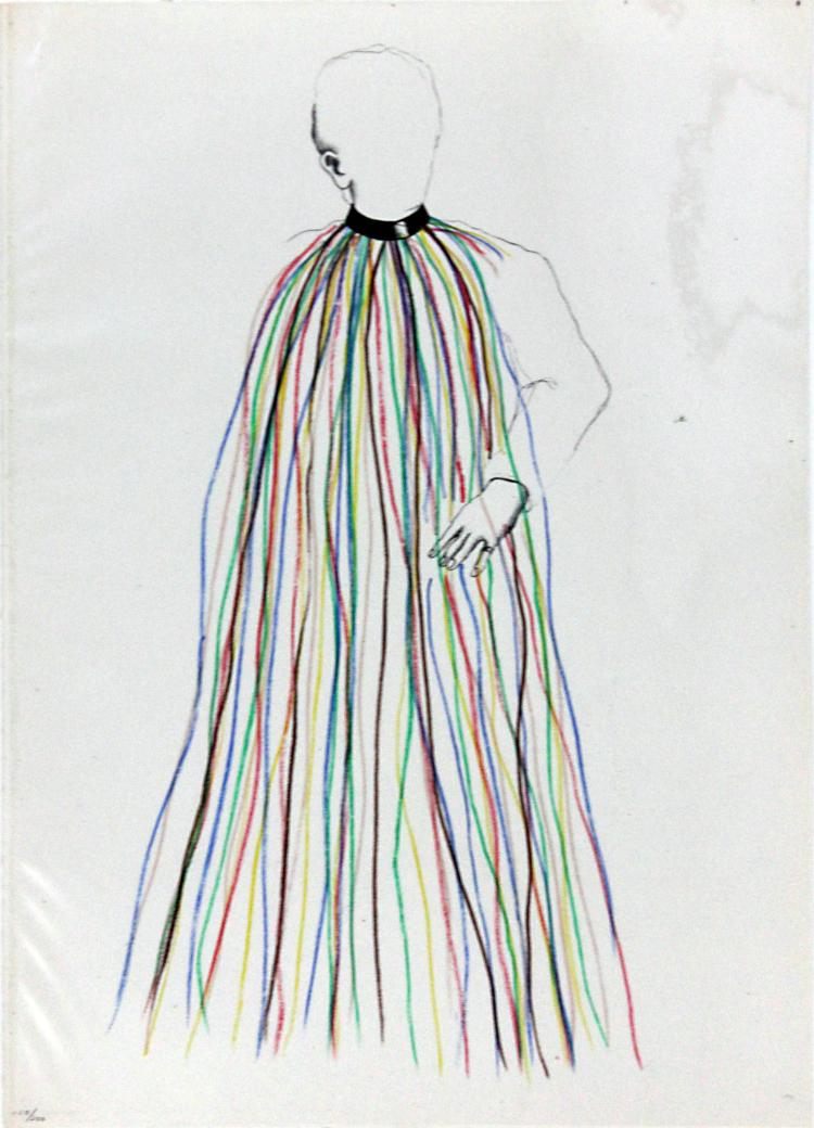 Dorian Gray in Multi-Colored Vinyl Stripe Cape by Jim Dine