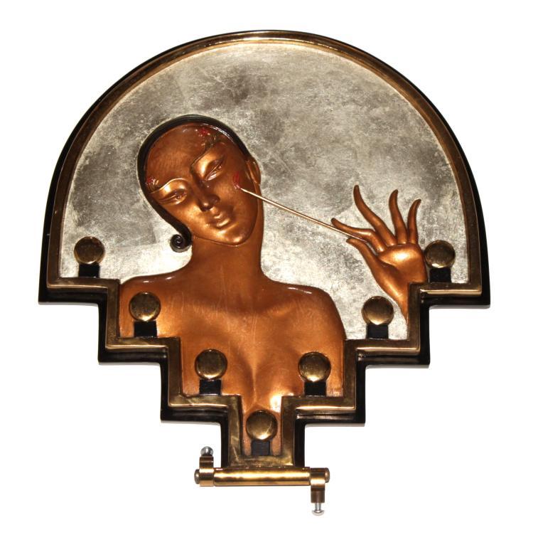 Erte - Vanity Bas-relief Bronze Table Mirror