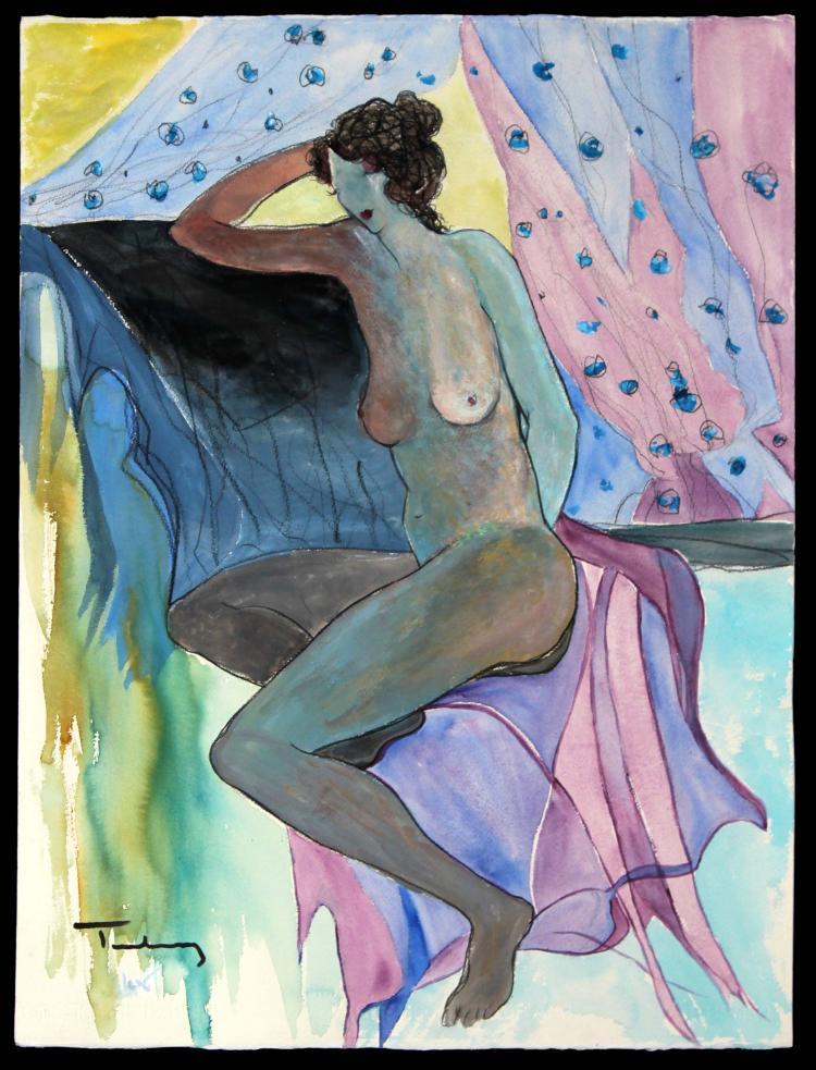 Itzchak Tarkay - Seated Nude Monumental Watercolor