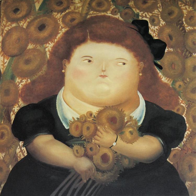 Fernando Botero (after) - Girl in a Garden of