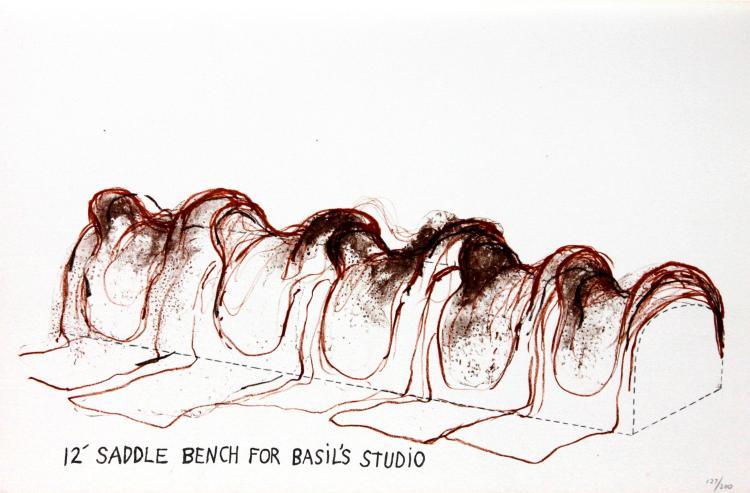 Jim Dine - 12' Saddle Bench for Basil's Studio