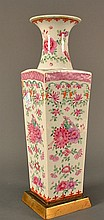 Famille Rose Square Form Vase size 14