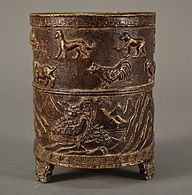 Bronze Zodiac Brush Pot size: 4