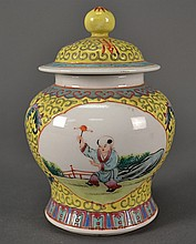 Republic Vase & Cover, yellow ground size: 5.75