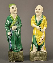 A Pair of Chinese Porcelain Figurines Size: 9.5