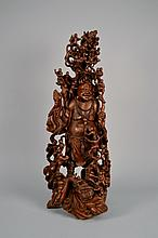 Carved Chinese Wooden Buddha and Children 28