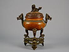 Chinese bronze censor on stand 151/2' tall x 13