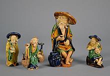 Four Chinese Mud Men 3 1/4