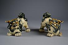 Pair of Chinese Glazed Foo Lions 5 1/4